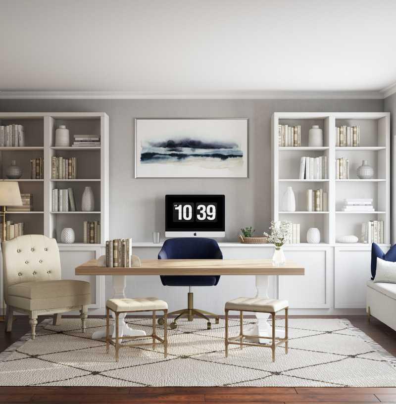 Contemporary, Preppy Office Design by Havenly Interior Designer Kelcy