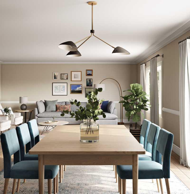 Eclectic, Global, Midcentury Modern Dining Room Design by Havenly Interior Designer Caroline
