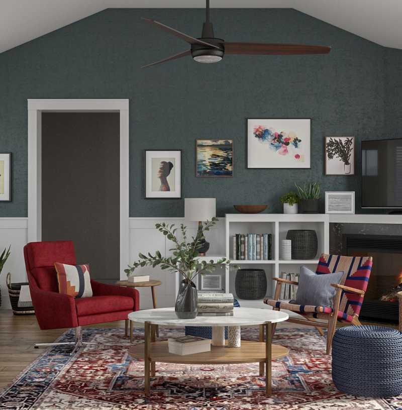 Bohemian, Global, Southwest Inspired, Midcentury Modern Living Room Design by Havenly Interior Designer Patrice