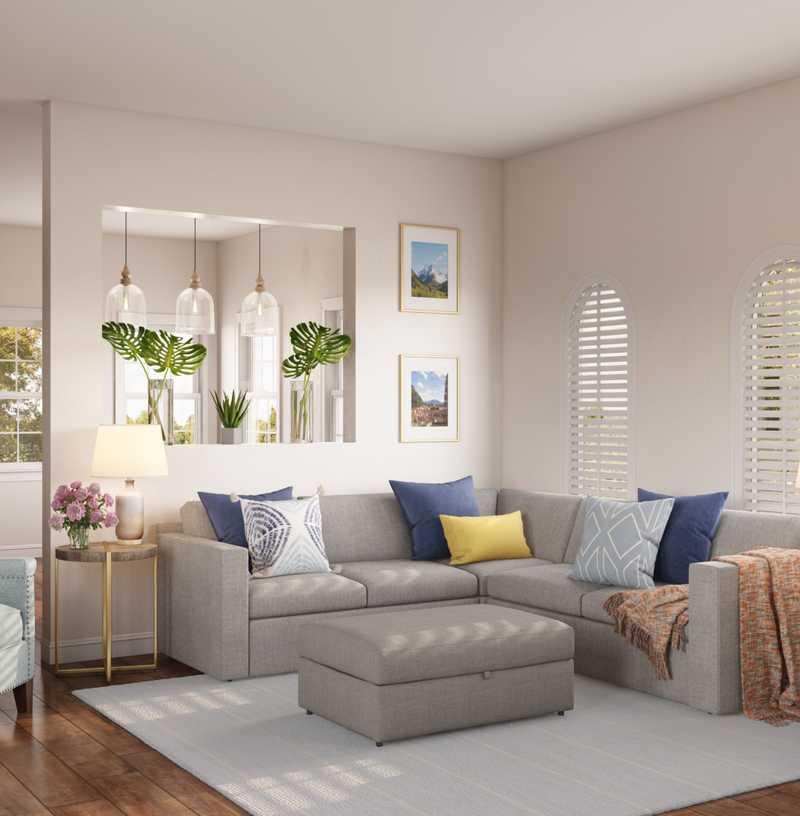 Coastal, Farmhouse, Transitional Living Room Design by Havenly Interior Designer Arissa