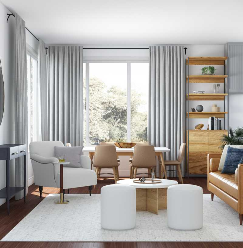 Contemporary, Midcentury Modern, Classic Contemporary Living Room Design by Havenly Interior Designer Anny