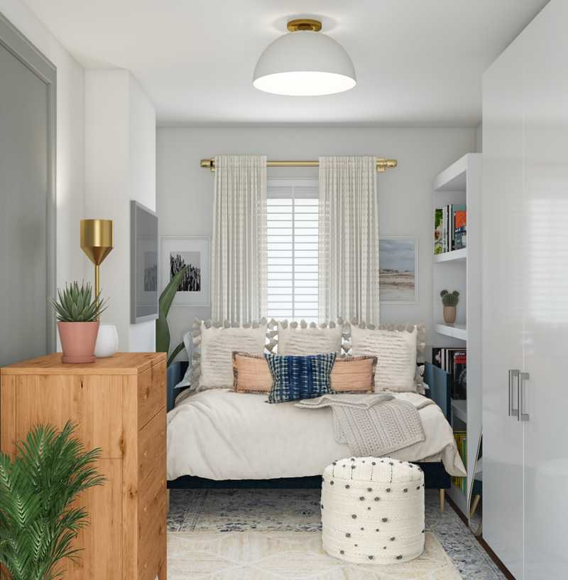 Bohemian, Coastal, Midcentury Modern Bedroom Design by Havenly Interior Designer Michela