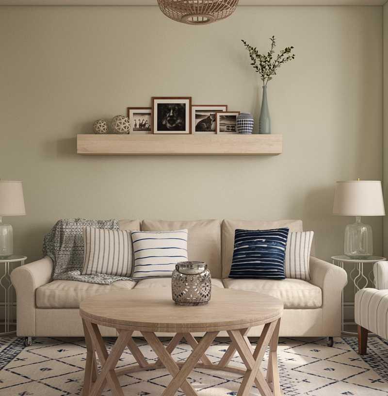 Coastal, Farmhouse Living Room Design by Havenly Interior Designer Christina