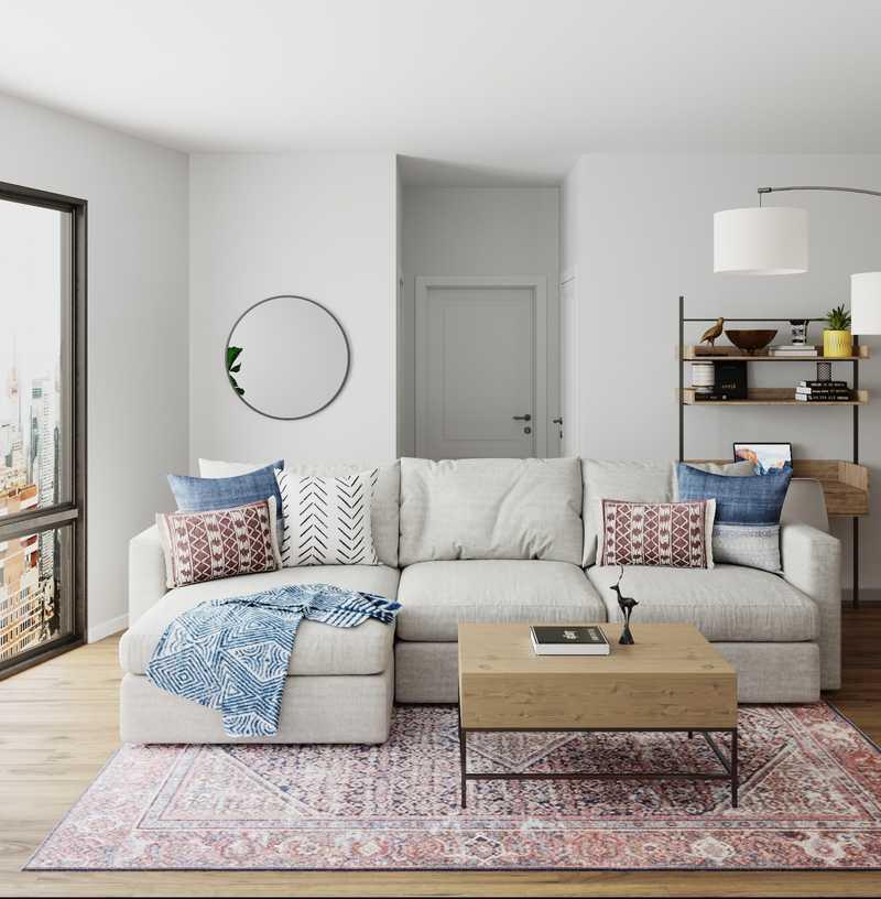 Bohemian, Coastal Living Room Design by Havenly Interior Designer Keri