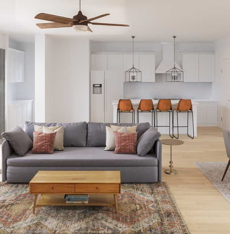 Contemporary, Transitional, Midcentury Modern Living Room Design by Havenly Interior Designer Amy