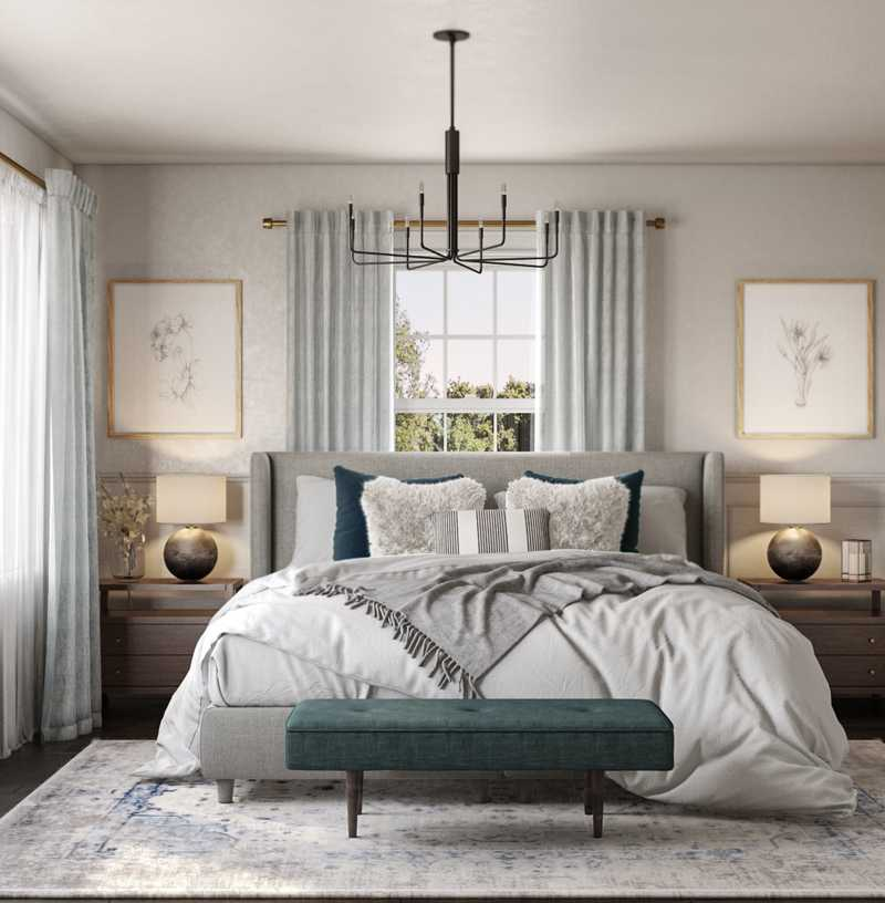 Modern, Coastal, Glam, Farmhouse, Transitional Bedroom Design by Havenly Interior Designer Emily