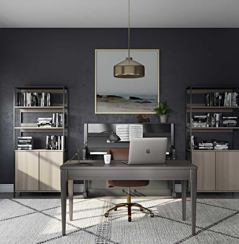 Modern, Industrial, Transitional, Midcentury Modern Office Design by Havenly Interior Designer Stacy