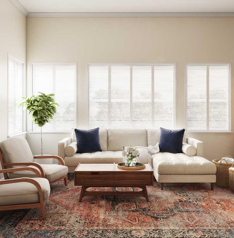 Bohemian, Midcentury Modern Living Room Design by Havenly Interior Designer Tatiana