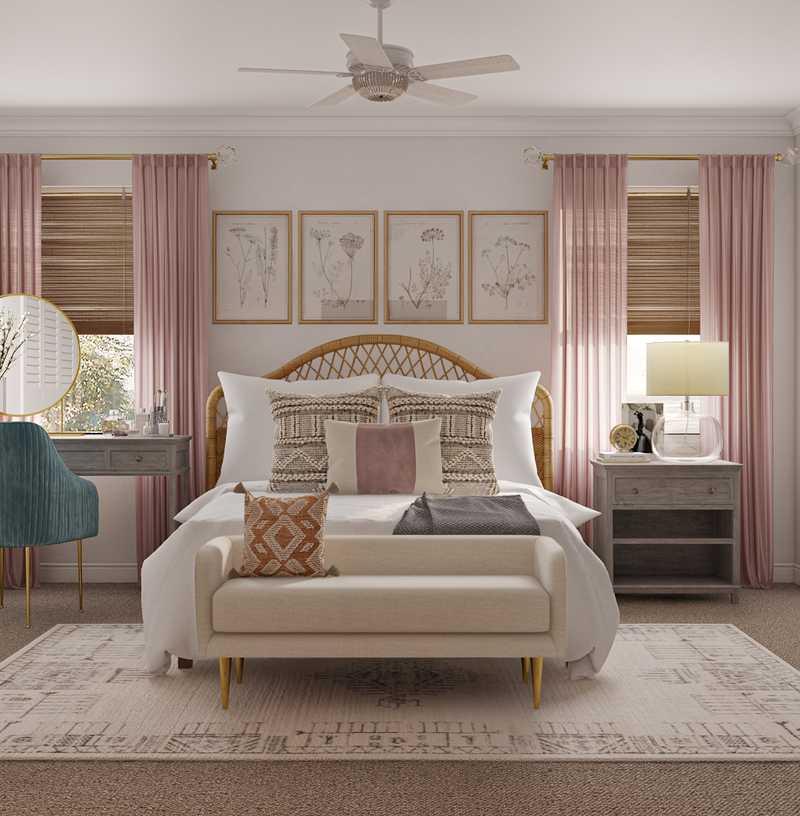 Glam, Rustic, Preppy Bedroom Design by Havenly Interior Designer Sable