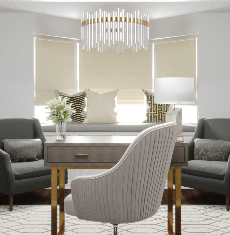 Contemporary, Glam Office Design by Havenly Interior Designer Amy
