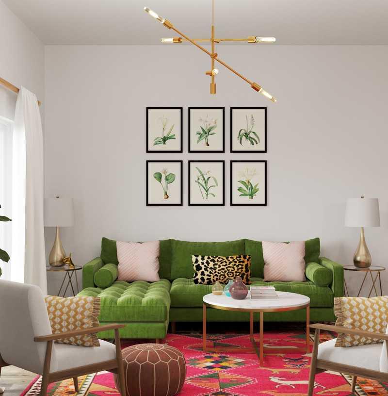 Modern, Eclectic, Bohemian, Midcentury Modern Living Room Design by Havenly Interior Designer Kacie