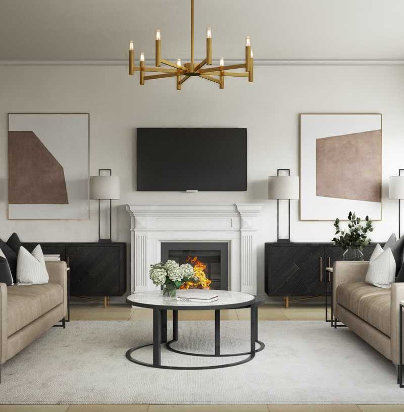 Contemporary, Modern, Glam Living Room Design by Havenly Interior Designer Kelcy