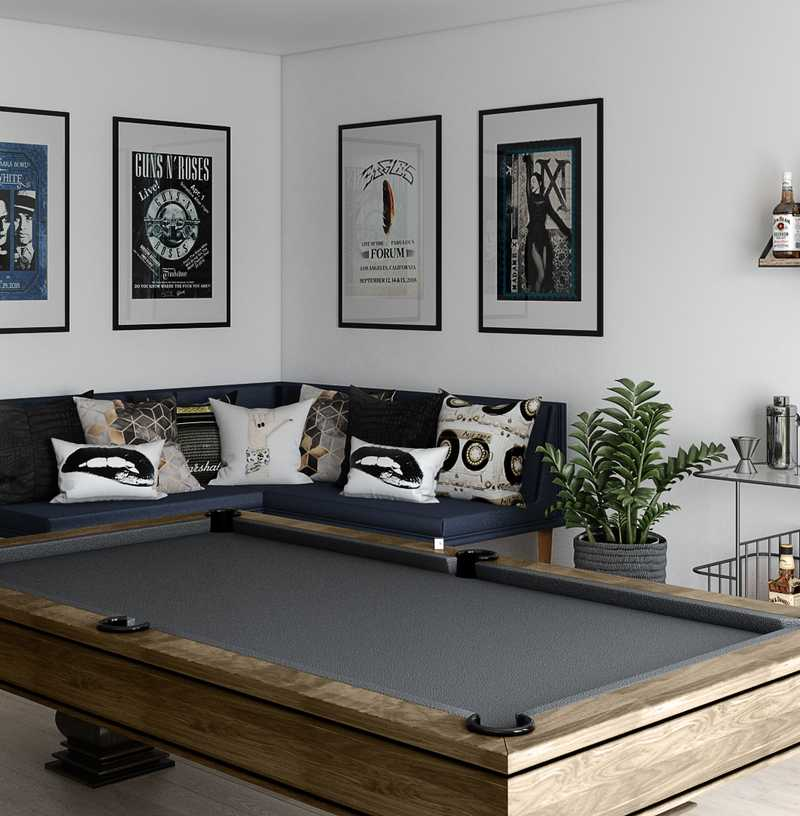 Contemporary, Eclectic, Industrial Living Room Design by Havenly Interior Designer Emily