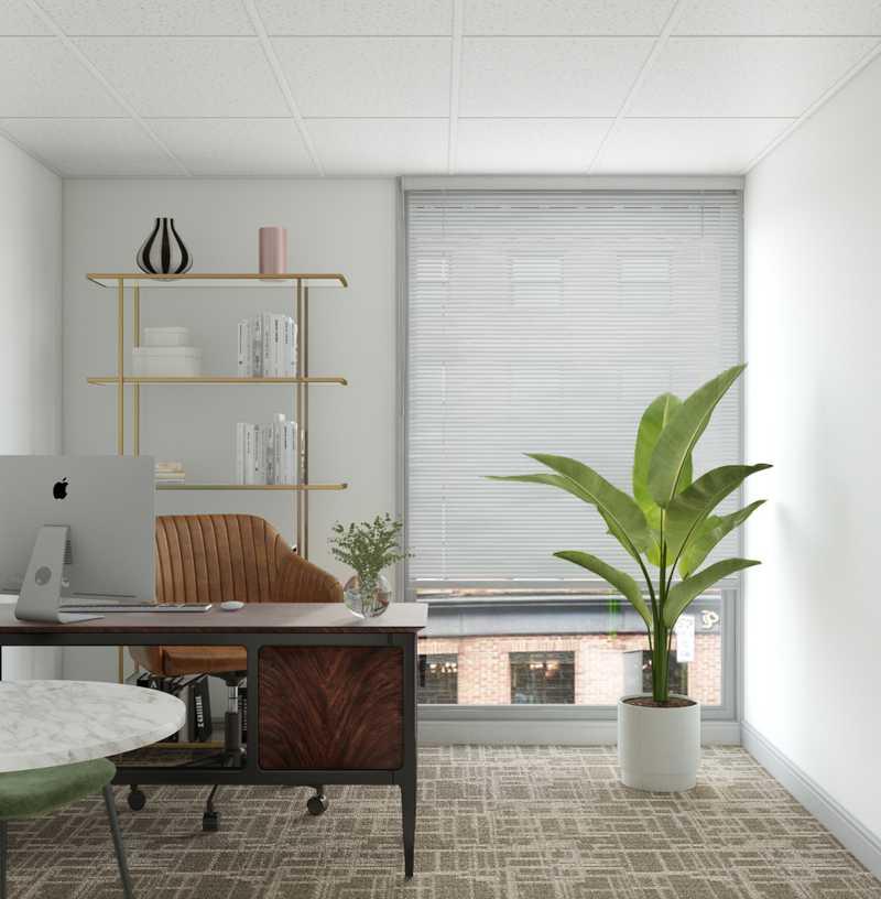 Glam, Industrial Office Design by Havenly Interior Designer Maria