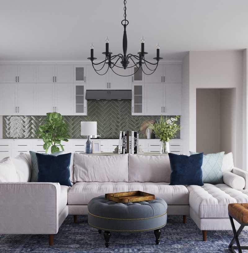 Contemporary, Farmhouse Living Room Design by Havenly Interior Designer Aleena