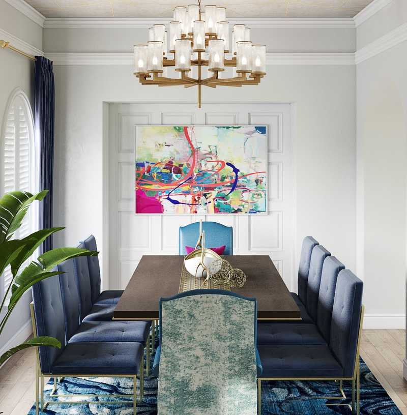 Contemporary, Glam Dining Room Design by Havenly Interior Designer Karen