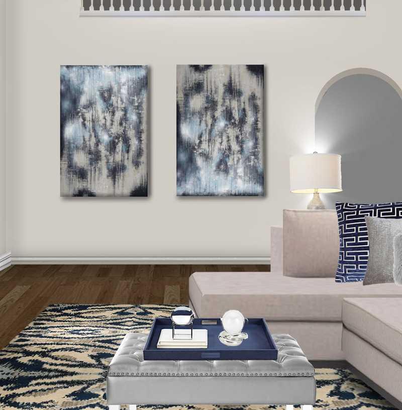 Contemporary, Glam, Transitional Living Room Design by Havenly Interior Designer Kristin