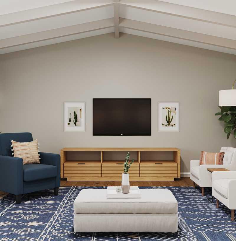 Eclectic, Bohemian, Coastal Living Room Design by Havenly Interior Designer Chelsea