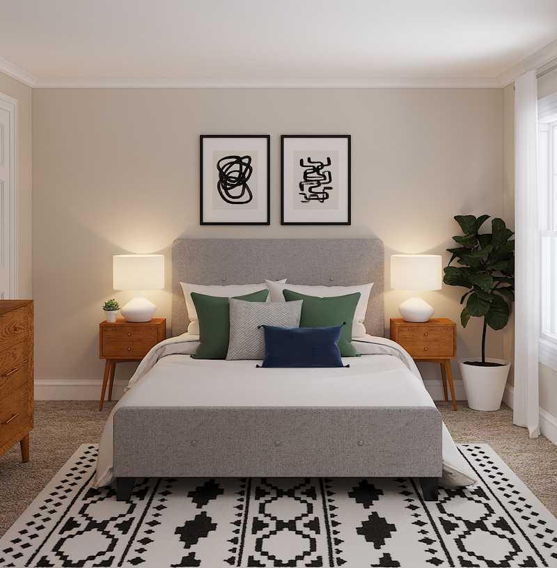 Transitional, Midcentury Modern Bedroom Design by Havenly Interior Designer Amy