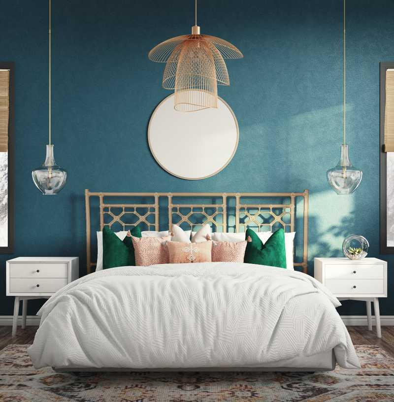 Bohemian, Southwest Inspired, Midcentury Modern Bedroom Design by Havenly Interior Designer Katie