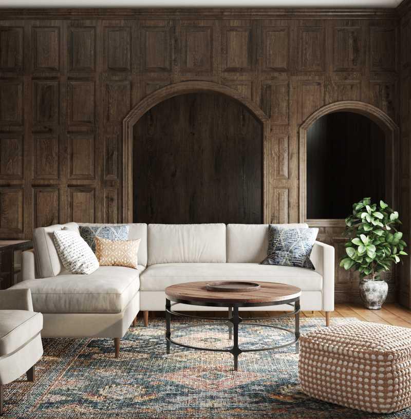 Bohemian, Farmhouse Living Room Design by Havenly Interior Designer Kortney