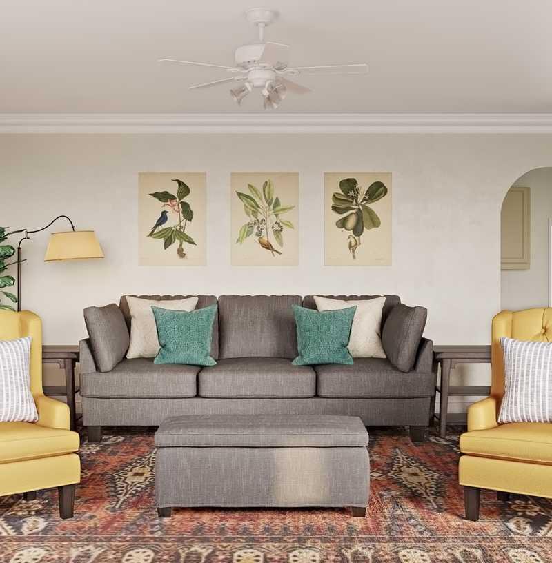 Classic, Farmhouse Living Room Design by Havenly Interior Designer Adrian