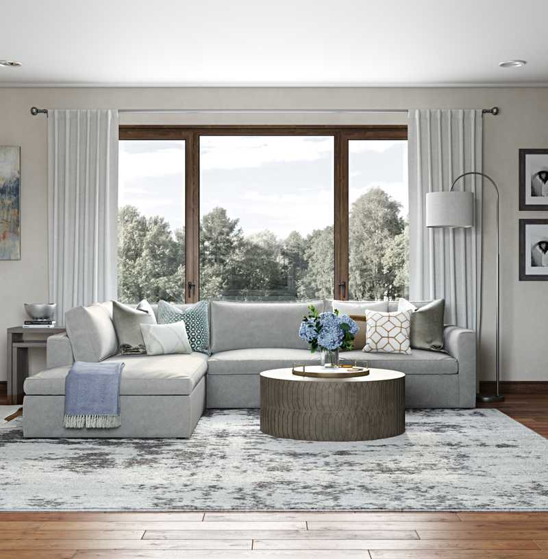 Contemporary, Classic, Coastal, Farmhouse Living Room Design by Havenly Interior Designer Emily