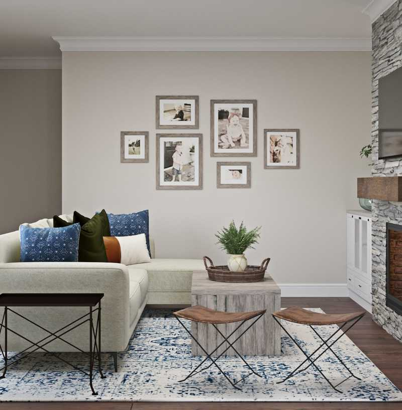 Farmhouse, Transitional Living Room Design by Havenly Interior Designer Kaity