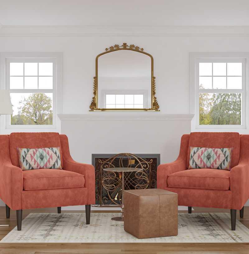 Bohemian, Midcentury Modern Living Room Design by Havenly Interior Designer Kate