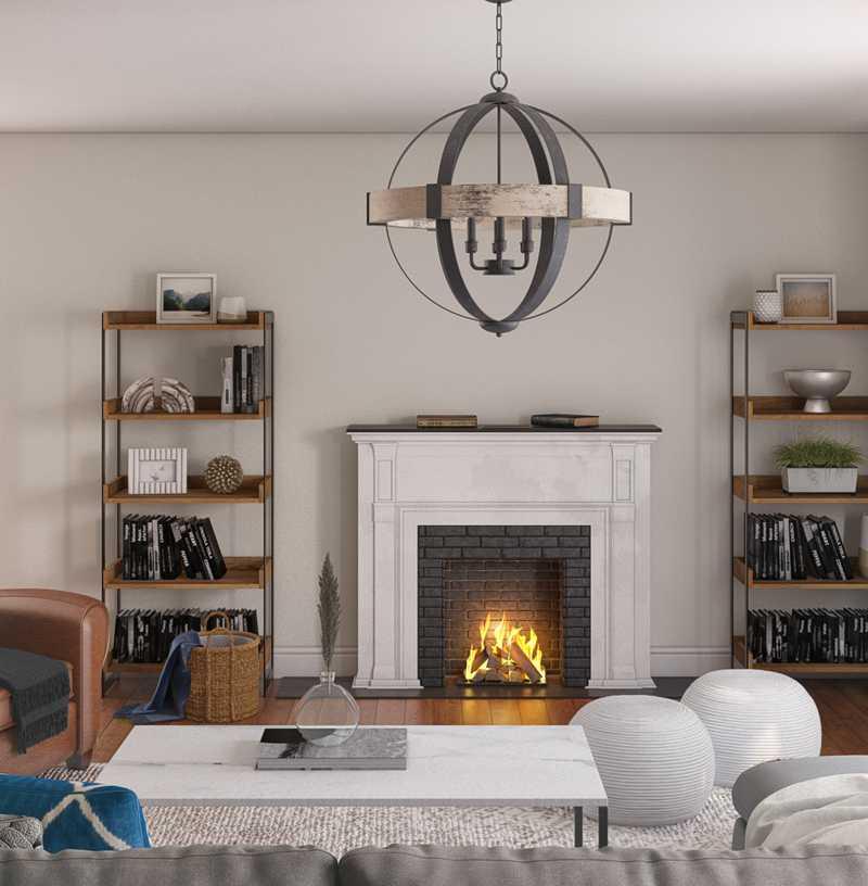 Rustic, Transitional, Scandinavian Living Room Design by Havenly Interior Designer Kacey