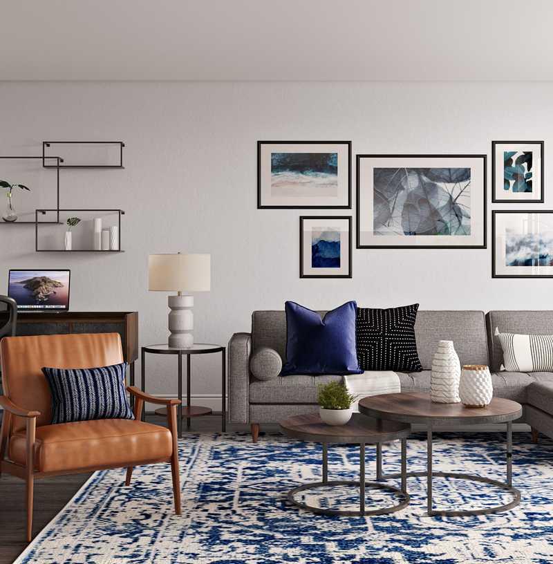 Industrial, Midcentury Modern Living Room Design by Havenly Interior Designer Natalie