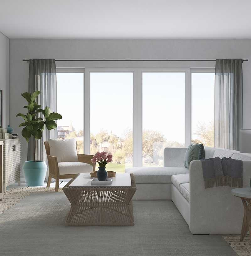 Contemporary, Coastal, Transitional Living Room Design by Havenly Interior Designer Robyn