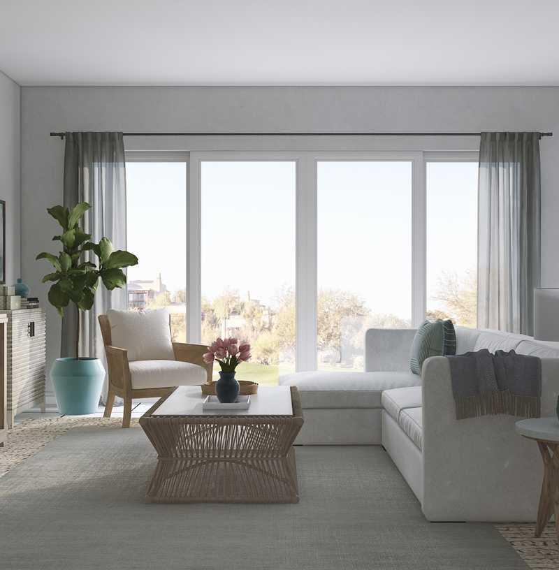 Contemporary, Coastal, Transitional Living Room Design by Havenly Interior Designer Robyn