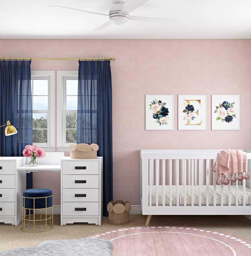 Contemporary, Modern, Classic, Glam, Transitional Nursery Design by Havenly Interior Designer Lyndsi