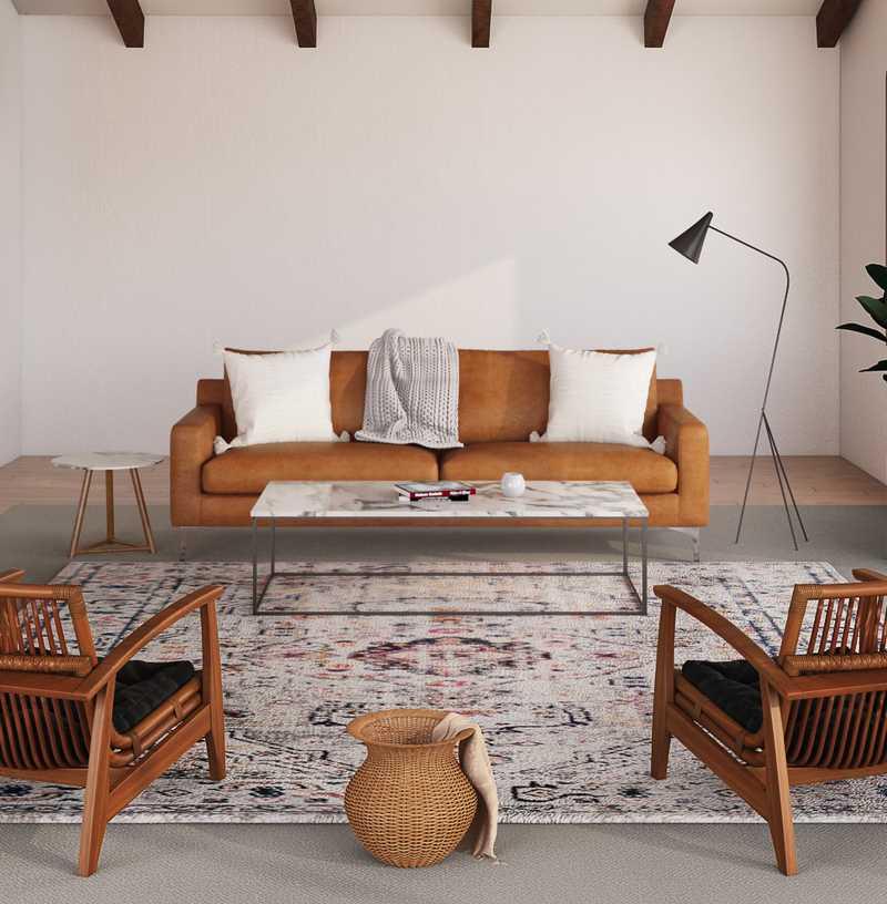 Modern, Bohemian, Midcentury Modern Living Room Design by Havenly Interior Designer Leslie