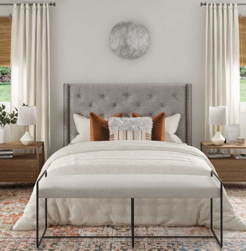 Contemporary, Bohemian, Midcentury Modern Bedroom Design by Havenly Interior Designer Abby