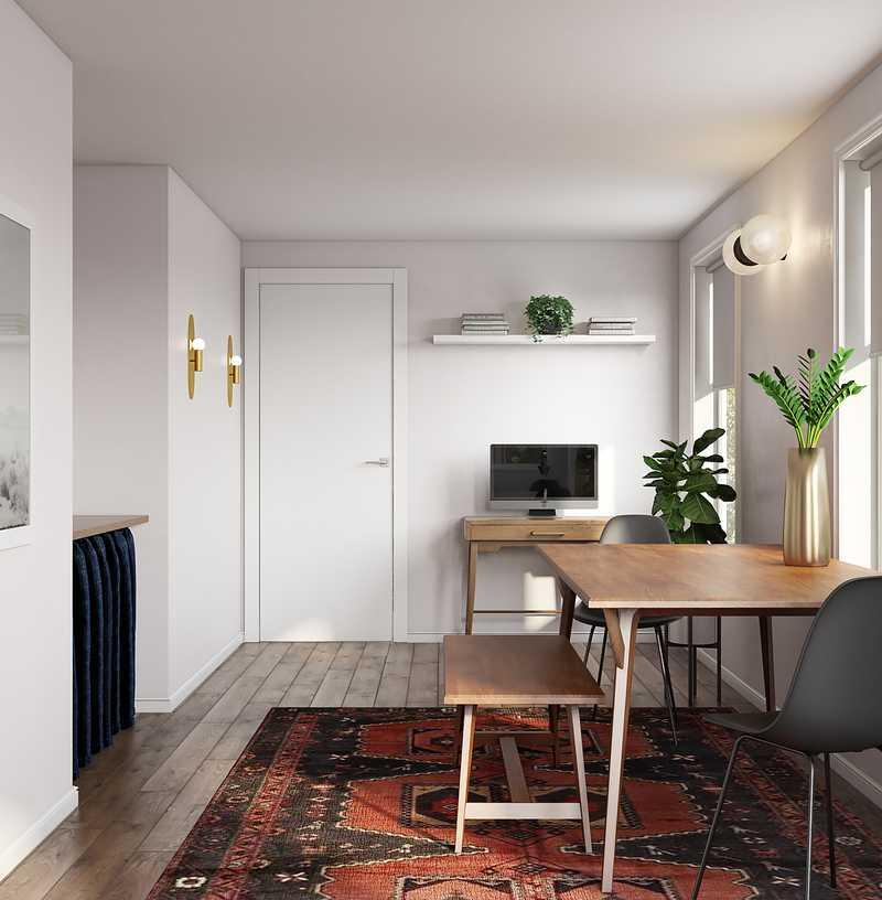 Bohemian, Midcentury Modern Dining Room Design by Havenly Interior Designer Leslie