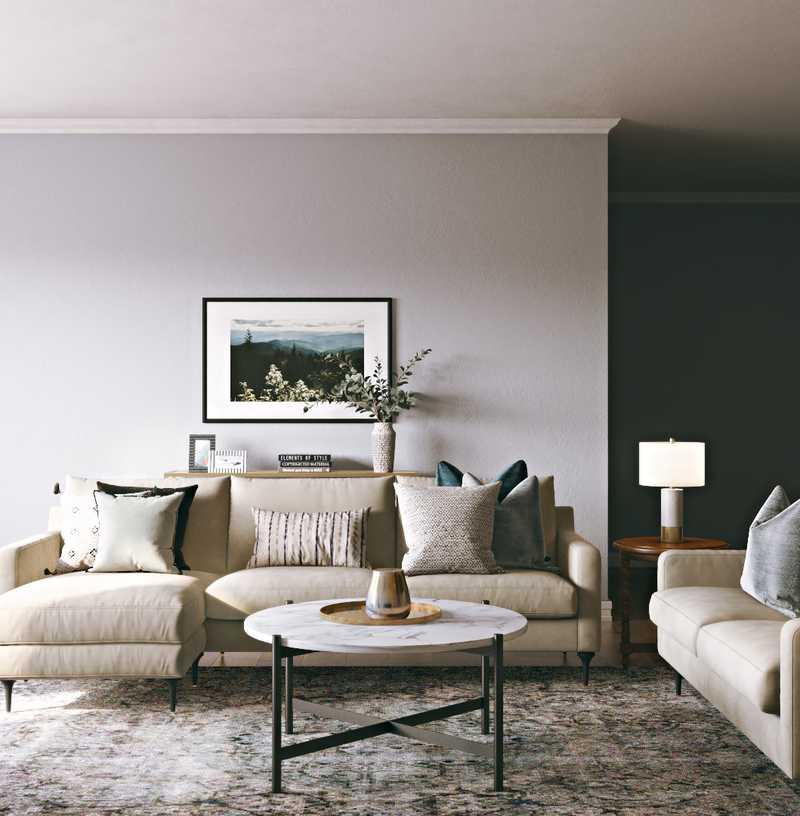 Farmhouse, Transitional, Midcentury Modern, Scandinavian Living Room Design by Havenly Interior Designer Leslie