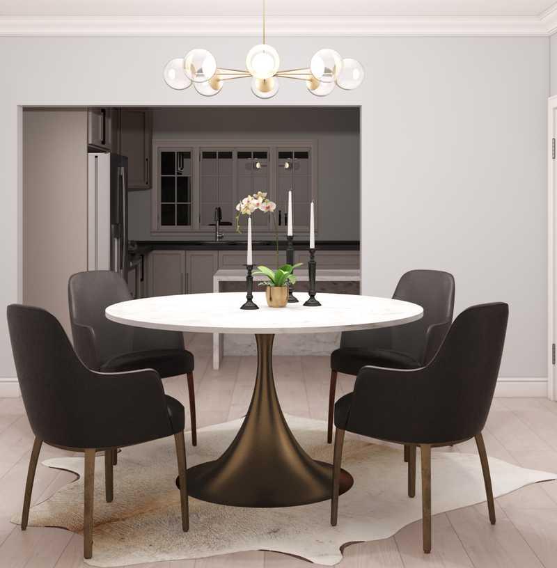 Glam, Midcentury Modern Dining Room Design by Havenly Interior Designer Rachel