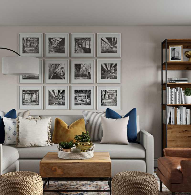 Bohemian, Midcentury Modern Living Room Design by Havenly Interior Designer Amanda