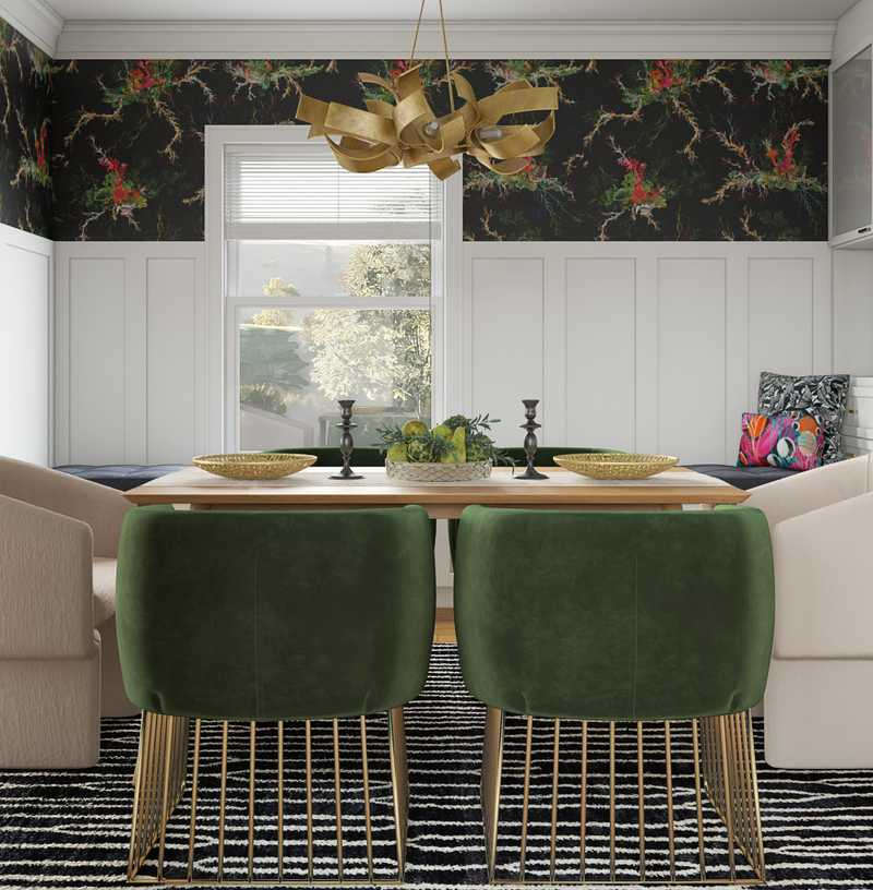 Eclectic, Bohemian, Glam Dining Room Design by Havenly Interior Designer Samantha