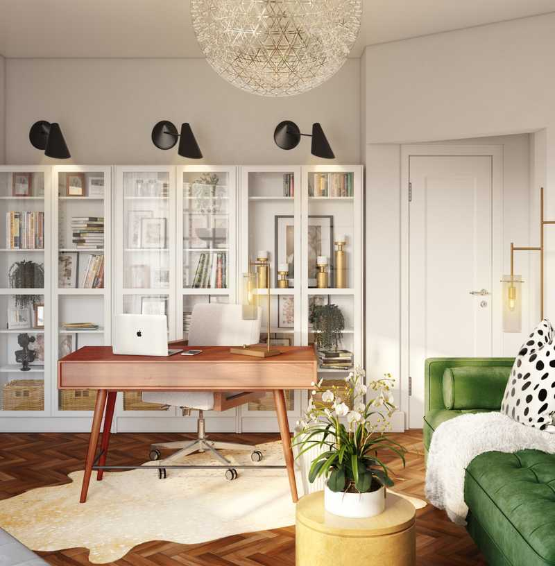 Eclectic, Glam, Midcentury Modern Office Design by Havenly Interior Designer Nicolle