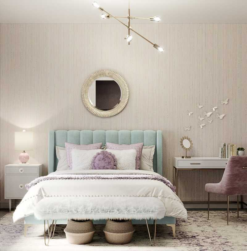 Glam, Preppy Bedroom Design by Havenly Interior Designer Fendy
