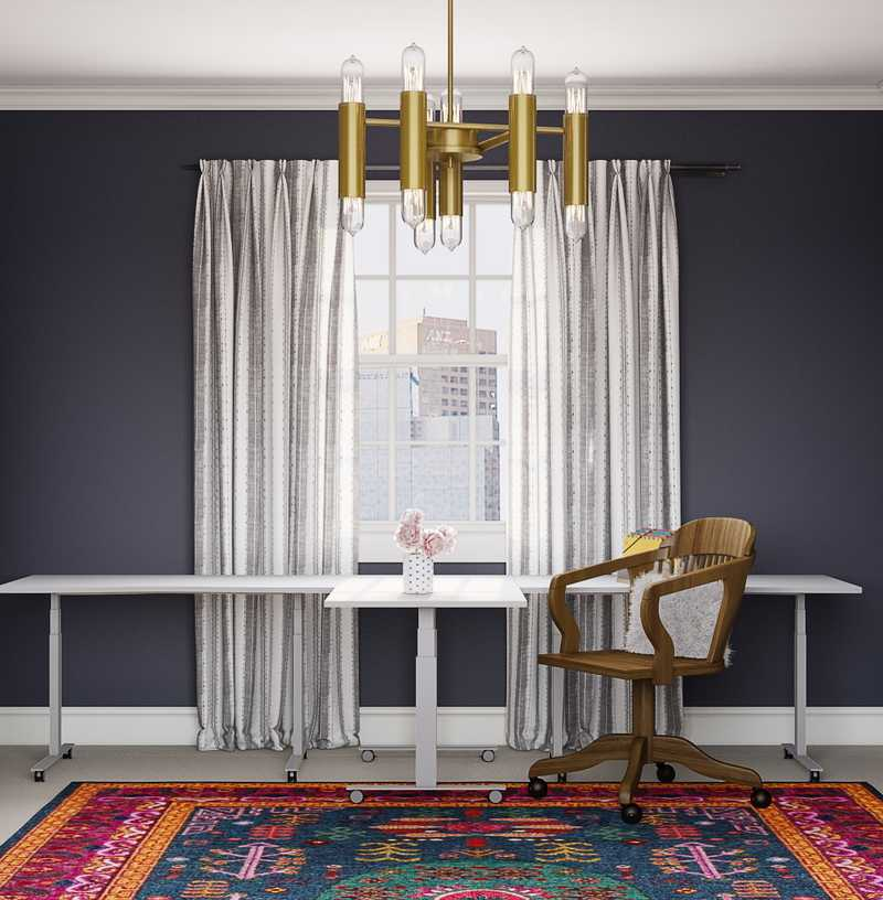 Eclectic, Bohemian, Glam, Global, Midcentury Modern Office Design by Havenly Interior Designer Melody