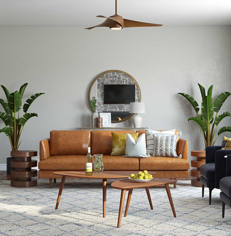Bohemian, Midcentury Modern Living Room Design by Havenly Interior Designer Jessica