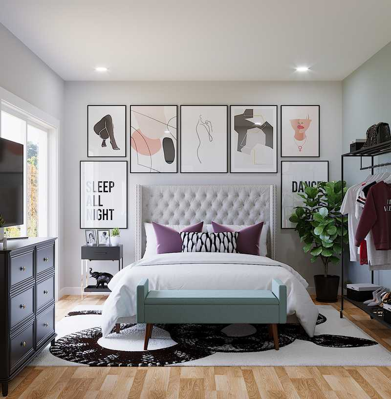 Modern, Eclectic, Glam Bedroom Design by Havenly Interior Designer Marie