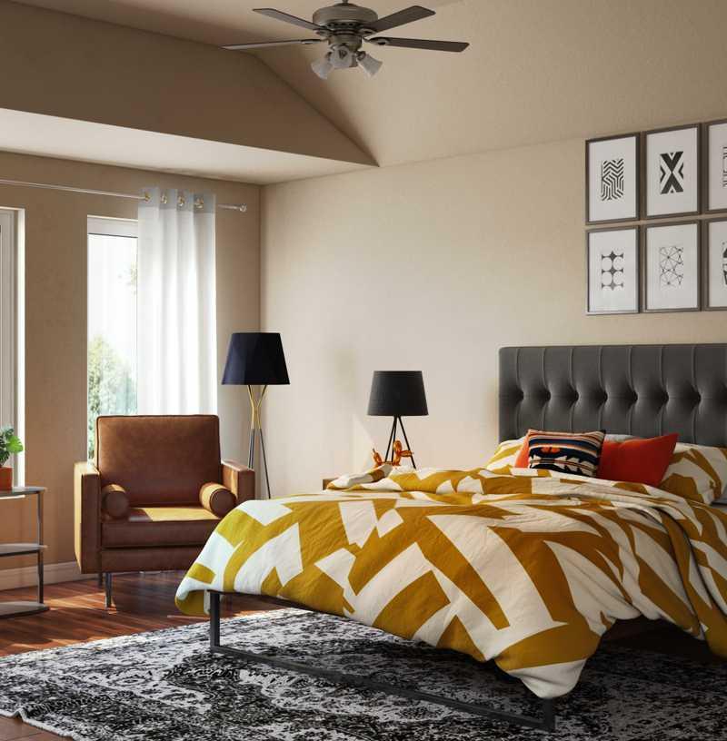 Industrial, Global, Midcentury Modern Bedroom Design by Havenly Interior Designer Dayana