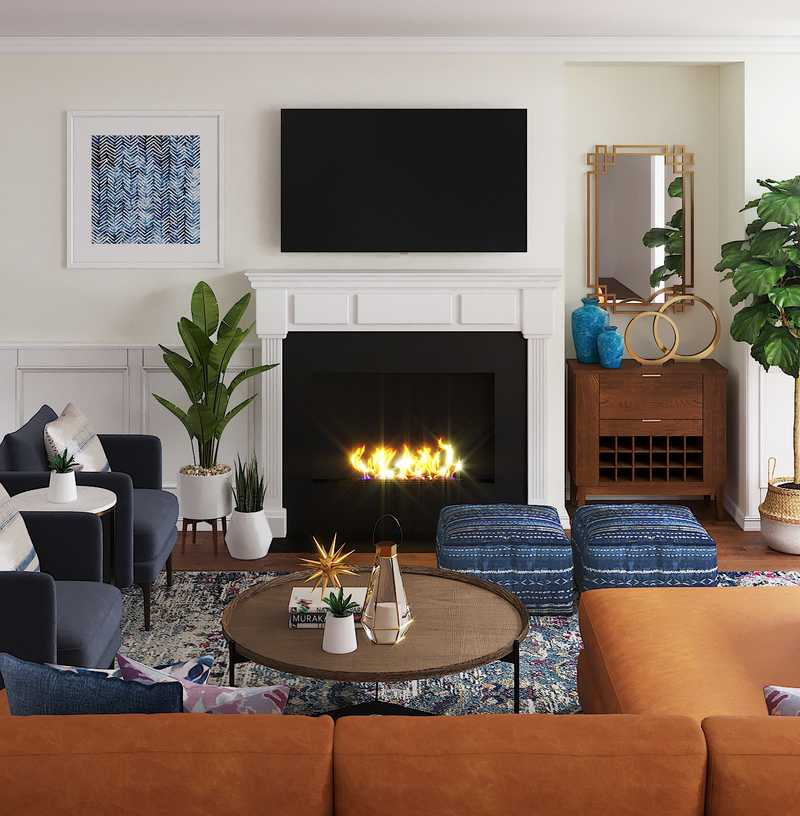 Contemporary, Farmhouse Living Room Design by Havenly Interior Designer Elizabeth