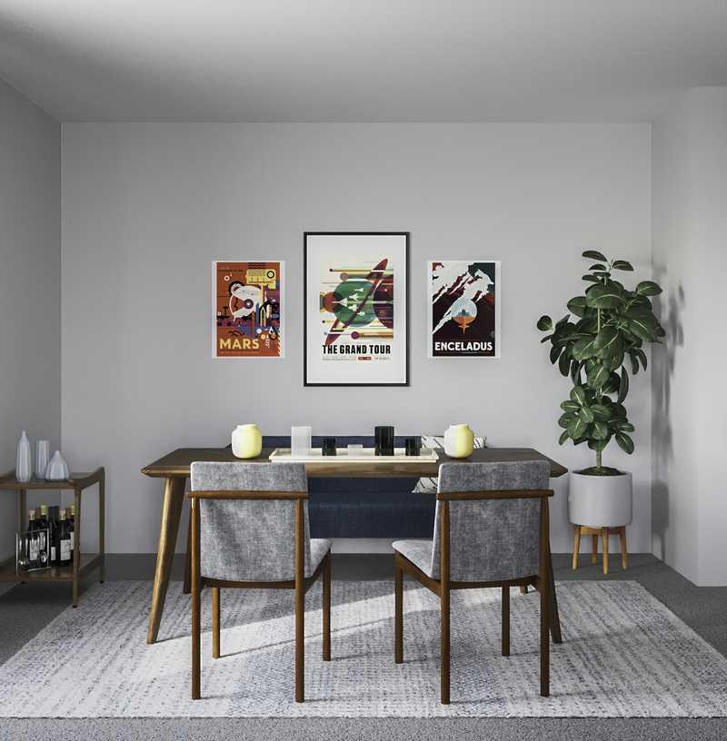 Bohemian, Midcentury Modern Dining Room Design by Havenly Interior Designer Shaina