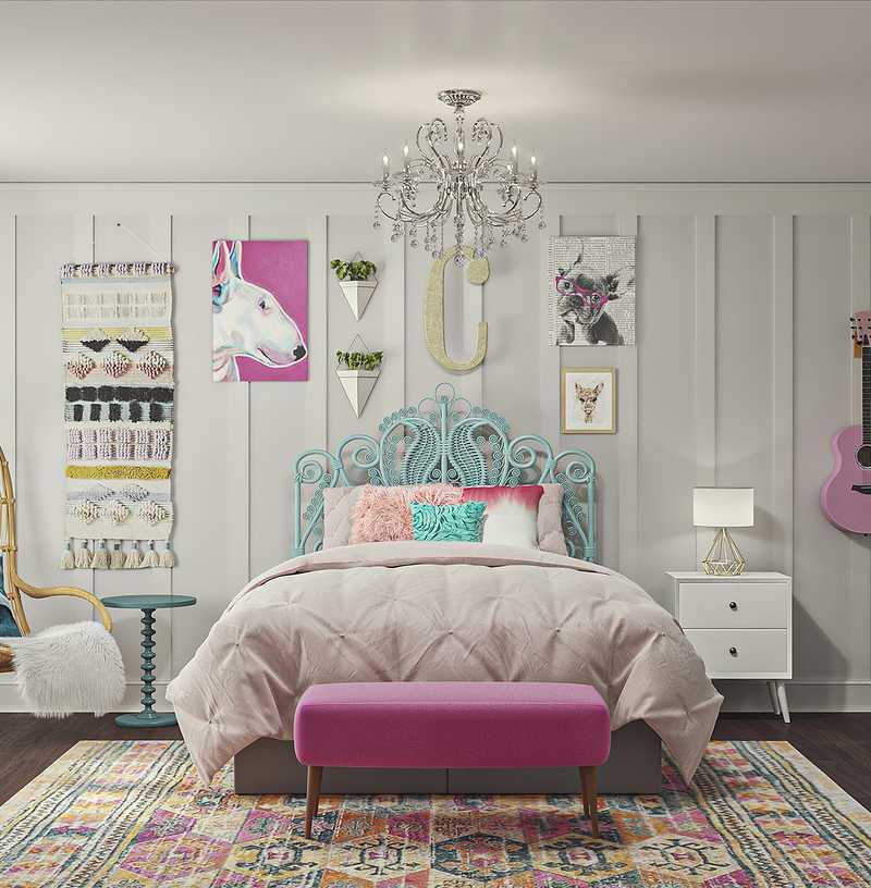 Eclectic, Bohemian, Midcentury Modern Bedroom Design by Havenly Interior Designer Christina